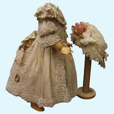 """Fine French dress and bonnet for doll 24"""""""