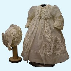 """French dress and bonnet for doll 20-21"""""""