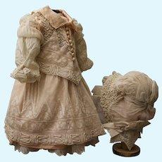 "Beautiful French dress bonnet petticoat for doll 24"""