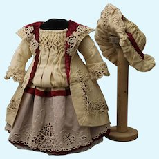 """Beautiful French dress and hat for doll 20-22"""""""