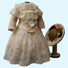 """Beautiful French dress and straw hat  for doll 21-22"""""""