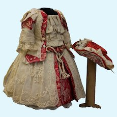 """French dress and straw hat for doll 17-19"""""""