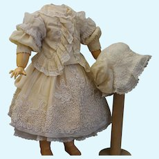 French two-piece suit and bonnet for doll 23-24""
