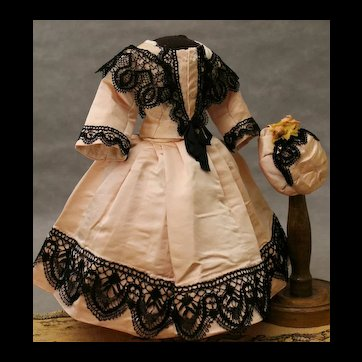 Beautiful dress and bonnet for  Fashion doll  about 16 inches