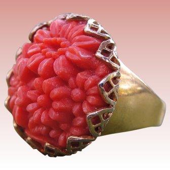 Adjustable Filigree Ring Vintage Faux Coral Carved