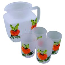 Kitschy Hand Painted Pitcher Glasses Orange Juice SET