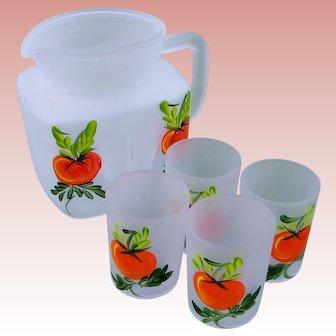 Pitcher Glasses Orange Juice Hand Painted SET