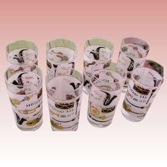 Drinking Glasses Set of 8 Glass Tumblers Highball Jazz Musical Theme Hand Painted