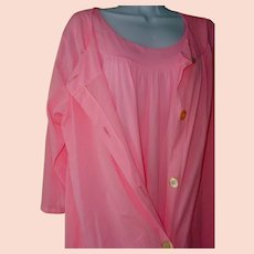 375b8d09347 Pink Gown SET Slinky 100% Nylon Demure Nightgown Robe Vintage Sears Large  Plus Size