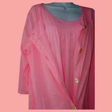 Pink Gown SET Slinky 100% Nylon Demure Nightgown Robe Vintage Sears Large Plus Size