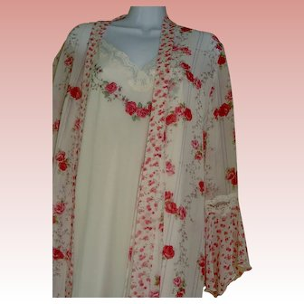 Gown SET Romantic Red Rose Nightgown Robe XL Plus Size