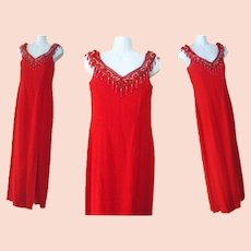 Long Beaded Dress Red Gunne Sax Evening Formal Gown