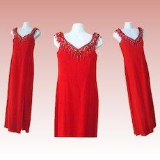 Long Beaded Dress Red Gunne Sax Evening Formal Gown