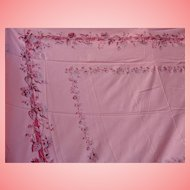 Tablecloth Solid Mauve Pink Floral Border Large Rectangle Table Linens