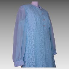 NOS Mid Century AQUA Maxi DRESS Lace Jacket Women Seymour Levy Sz 16 USA