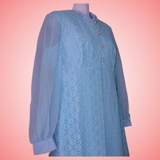 NOS Mid Century AQUA Maxi DRESS Lace Jacket Women Seymour Levy Sz 16 USA