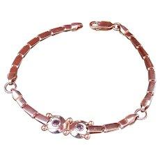 Ruby Link Bracelet ITALY 750 18K Yellow Gold Horseshoe Good Luck