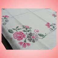 Americana Tablecloth Embroidered Floral Border Small Square Table Linens Dresser Scarf