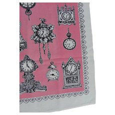 Kitchen Tea Towel Linens Vintage Clock Victorian Print Fabric Startex Wonder-Dri