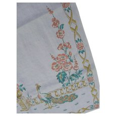 Kitchen Tea Towel Linens Peacock Birds Victorian Cottage Garden Scene