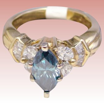 Ring Blue Diamond 1.75 CTW Statement Solitaire Marquise 14K Yellow Gold Custom Upcycle