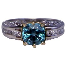 Ring Blue Zircon Diamond Solid 14K White Gold Filigree Custom Upcycle