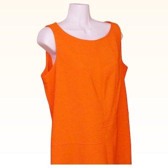 Orange Polyester Lois Snyder DANI MAX Woman Shift Dress Size 12 Circa 1970 Mid Century Modern Retro