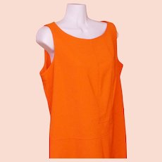Shift Dress Orange Polyester Circa 1970 Mid Century Modern Retro