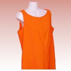 Shift Dress Orange Polyester Circa 1970 Mid Century Modern Retro