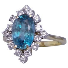 5 Carat Ring Blue Zircon Diamond Cluster Solid 18K Yellow Gold Custom Upcycled Design