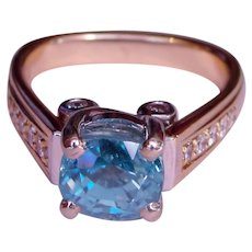 Ring Caribbean Blue Zircon Diamond Custom Upcycle Solid 14K Yellow Gold