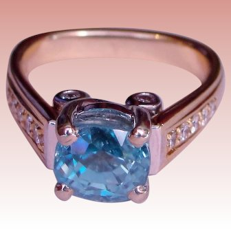 Ring Caribbean Blue Zircon Diamond Custom Upcycle Solid 14K Yellow Gold