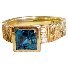 Ring Intense Blue Zircon Princess Cut Diamond Solid 18K Yellow Gold Custom Upcycle