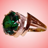 Atomic Age Ring Bold Retro Green Stone Solid 10K Yellow Gold