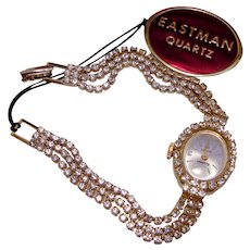 Rhinestone SWISS Quartz Watch Crystal Clear Brilliant Cut EASTMAN