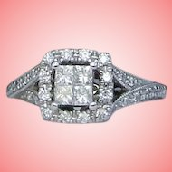 Ring Princess Diamond Halo Engagement Solid 14K White Gold