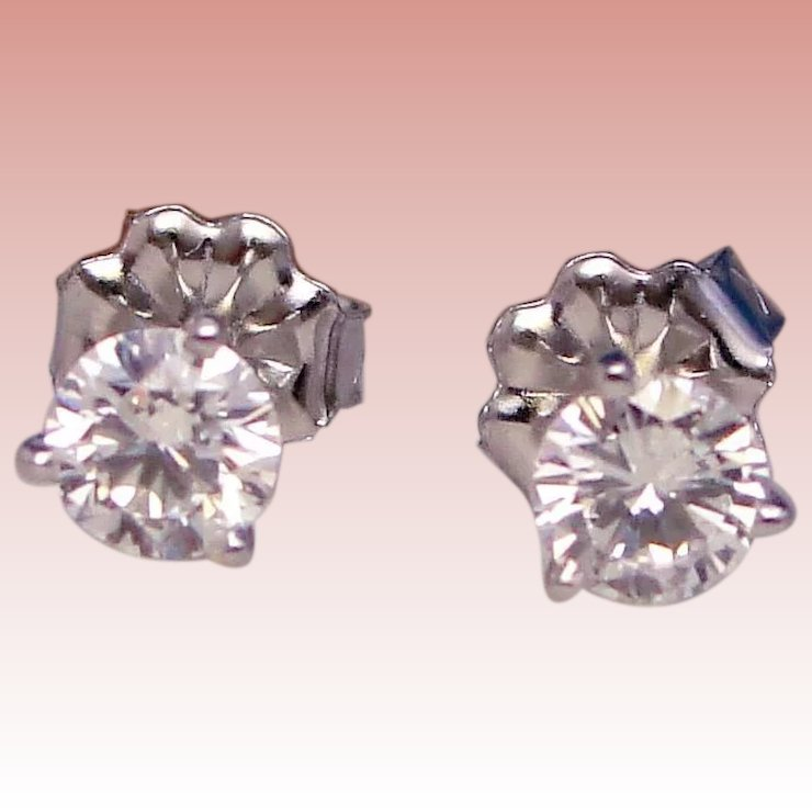 Exceptional Quality Diamond Stud Earrings 1 2 Carat Martini Mountings Solid 14k White Gold