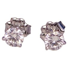 Exceptional Quality Diamond Stud Earrings 1/2 Carat Martini Mountings Solid 14K White Gold