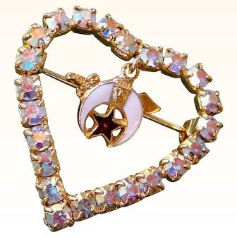 Crystal Heart Pin Aurora Borealis Rhinestone Masonic Shriner Enamel Dangle Charm Brooch Goldtone