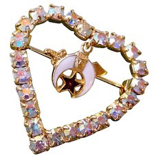 Masonic Shriner Heart Pin Crystal Rhinestone Enamel Dangle Charm Goldtone