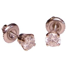 Blazing Diamond Stud Earrings Colorless 5/8 TCW Basket Screw Back Mountings Solid 14K White Gold