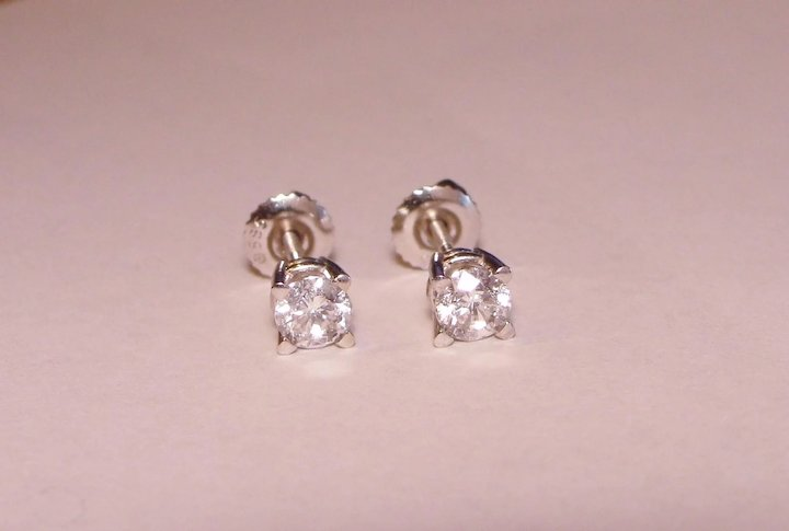Upscale Diamond Stud Earrings 3 4 Carat Basket Back Mountings 585 Solid 14k White