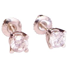 Upscale Diamond Stud Earrings 3/4 Carat Basket Screw Back Mountings 585 Solid 14K White Gold