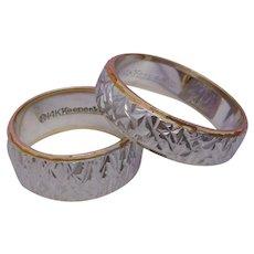 SET Carved Wedding Bands Keepsake Solid 14K White Gold NOS