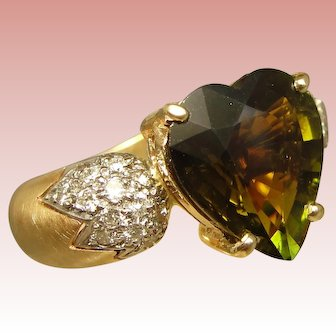 Ring Heart Shaped Green Tourmaline Diamond Statement Custom Upcycle