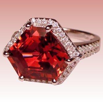 8 CTW Ring Pink Tourmaline Diamond Custom Upcycle Design Solid 14K White Gold