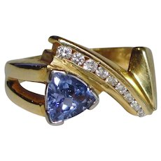 Retro Blue Purple Tanzanite Diamond Ring Solid 14K Yellow Gold