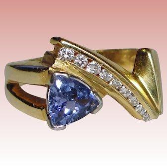 Retro Blue Purple Tanzanite Diamond Ring Solid 14K Yellow Gold