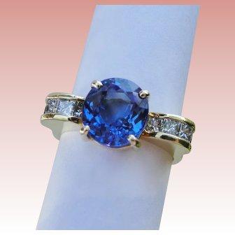 Regal 3.73 TCW Ring Intense Blue Purple Tanzanite Diamond Solid 18K Yellow Gold