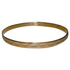 Fabulous Bangle Bracelet Faceted Design Yellow Gold Solid 14K Slip On Stacking